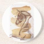Palomino Horse On Gold Watercolor Wash Drink Coaster
