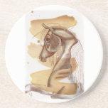 Palomino Horse On Gold Watercolor Wash Coaster