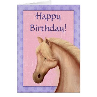 Palomino Horse Purple and Pink Happy Birthday Card