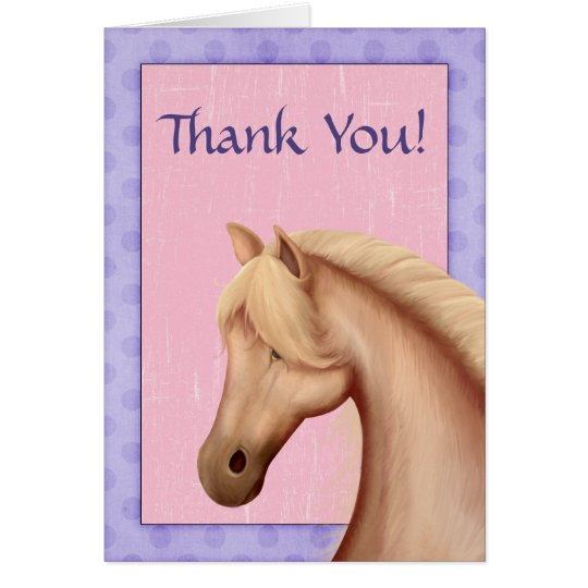 Palomino Horse Purple and Pink Thank You Cards