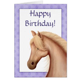 Palomino Horse Purple Happy Birthday Card