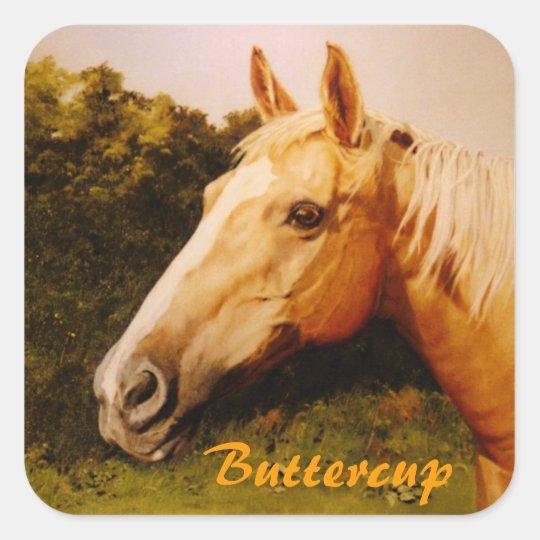 Palomino Horse with Blaze Square Sticker