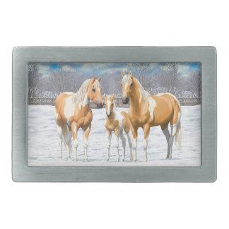 Palomino Paint Horses In Snow Rectangular Belt Buckles