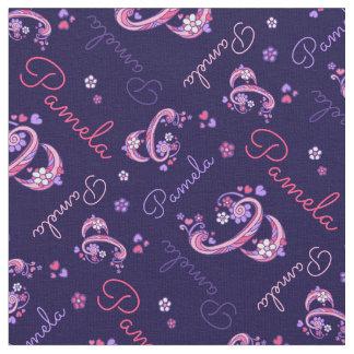 Pamela letter P monogram heart flowers fabric