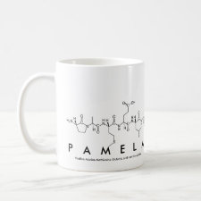Mug featuring the name Pamela spelled out in the single letter amino acid code