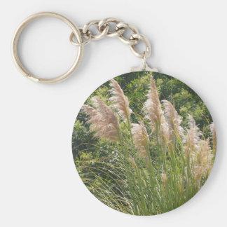 Pampas grass basic round button key ring