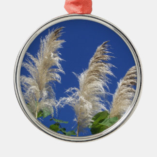 Pampas Grass In Bloom Round Metal Christmas Ornament