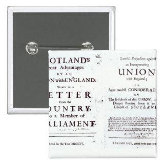 Pamphlets showing both sides 15 cm square badge