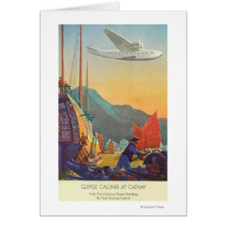 Pan-American Clipper Flying Over China Greeting Card