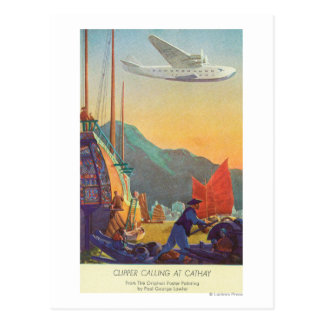 Pan-American Clipper Flying Over China Postcard