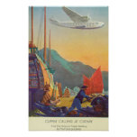 Pan-American Clipper Flying Over China Poster