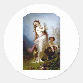 pan autumn mythological antique painting harvest round sticker