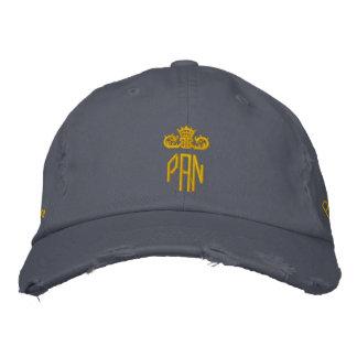 PAN-Cap-blue x gold 刺繍入りベースボールキャップ