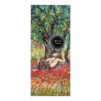 PAN, OLIVE TREE AND POPPY FIELDS,black 10 Cm X 24 Cm Invitation Card