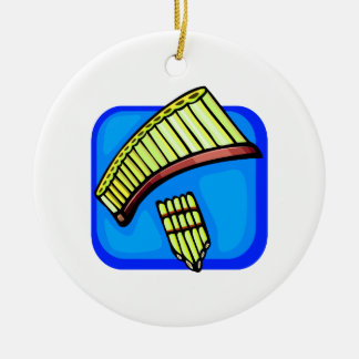 Pan Pipes With Blue background pan flute Christmas Ornament