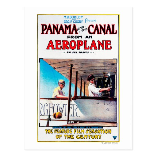 Panama and the Canal Aeroplane Movie Promo Poste Post Card