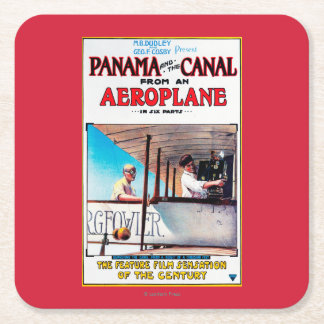 Panama and the Canal Aeroplane Movie Promo Poste Square Paper Coaster