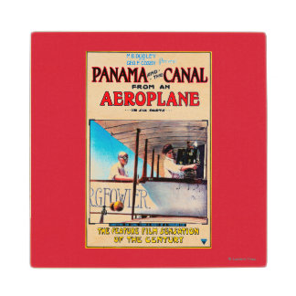 Panama and the Canal Aeroplane Movie Promo Poste Wood Coaster