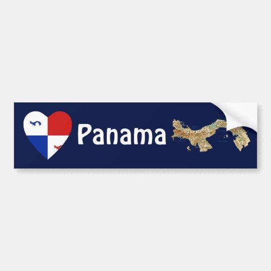 Panama Banner Heart + Map Bumper Sticker