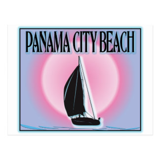 Panama City Beach Airbrushed Look Boat Sunset Postcard