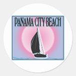 Panama City Beach Airbrushed Look Boat Sunset Round Sticker