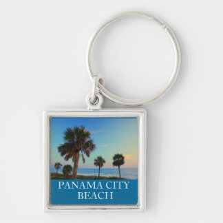 Panama City Beach FL Palm Tree Sunset Keyring