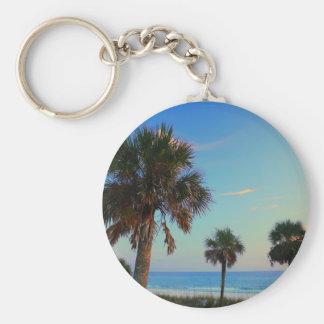 Panama City Beach, Florida palm trees Basic Round Button Key Ring