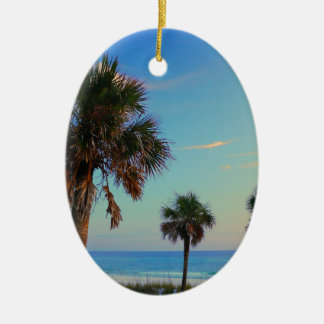 Panama City Beach, Florida palm trees Ceramic Oval Decoration