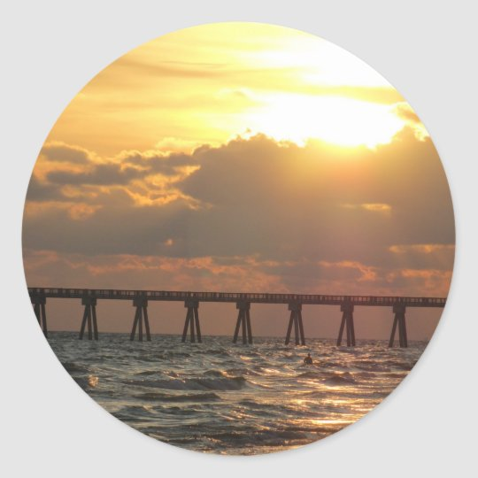 Panama City Beach Pier Sunset Classic Round Sticker
