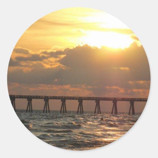 Panama City Beach Pier Sunset Round Sticker