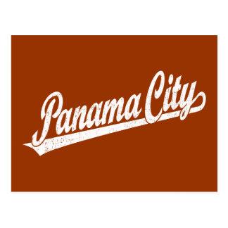 Panama City script logo in white distressed Postcard