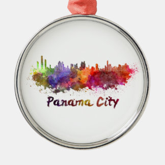 Panama City skyline in watercolor Silver-Colored Round Decoration
