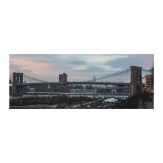 Panaromic Photo of the Brooklyn Bridge in NYC Canvas Prints