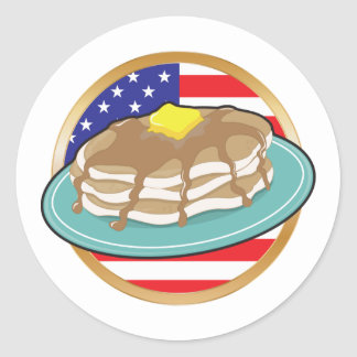 Pancake American Flag Round Sticker
