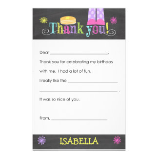 Pancake and Pajama Party Thank you Note, Fill In Stationery