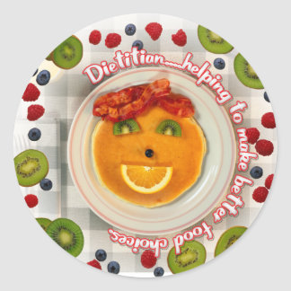 PANCAKE FACE DIETITIAN ROUND STICKER