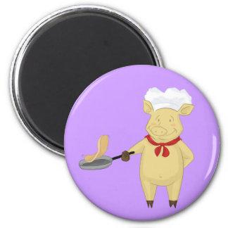 Pancake Flipping Pig Chef 6 Cm Round Magnet