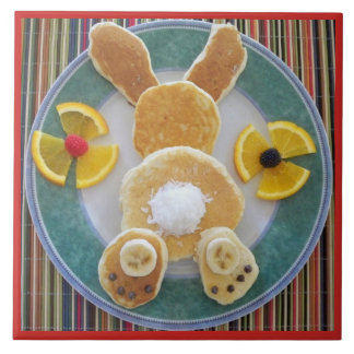 Pancake Rabbit Breakfast Fun Designer Tile Trivet