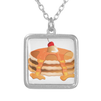 Pancake Stack Square Pendant Necklace