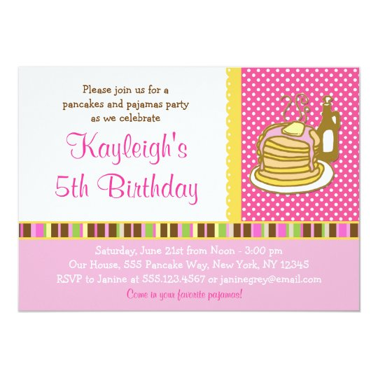 Pancakes and Pajama Girl Birthday Invitations