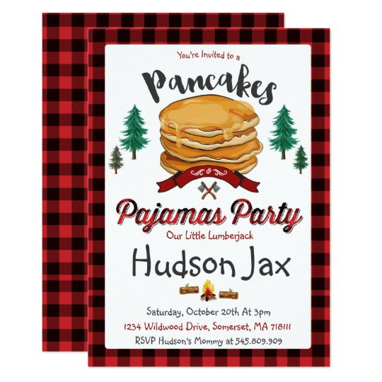 Pancakes And Pajamas Birthday Invitation Plaid