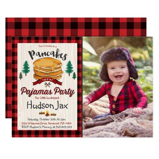 Pancakes And Pajamas Birthday Invitation Plaid