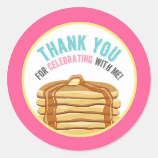 Pancakes and Pajamas Thank You Birthday Tags Round Sticker