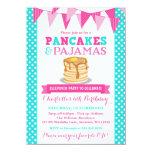 Pancakes and Pyjamas Sleepover Pink Teal Birthday 11 Cm X 16 Cm Invitation Card