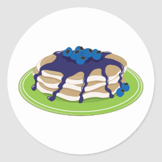 Pancakes Blueberry Classic Round Sticker