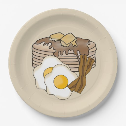 'Pancakes Eggs And Bacon Breakfast Party Plate