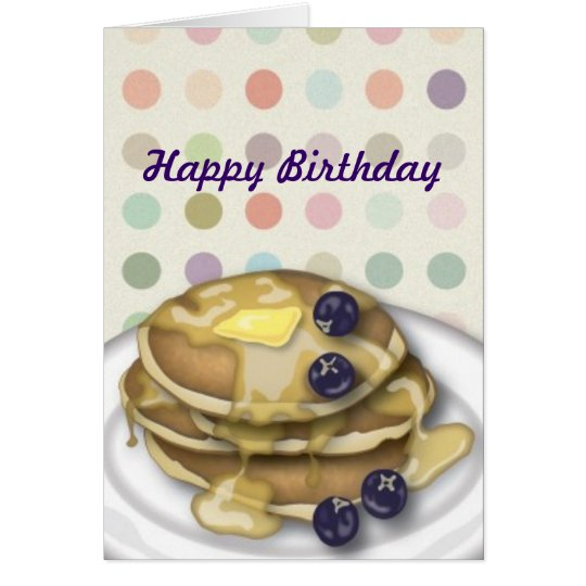 Pancakes Happy Birthday Polka Dots Card