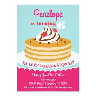 Pancakes Pajamas Invitation Girls Birthday Party