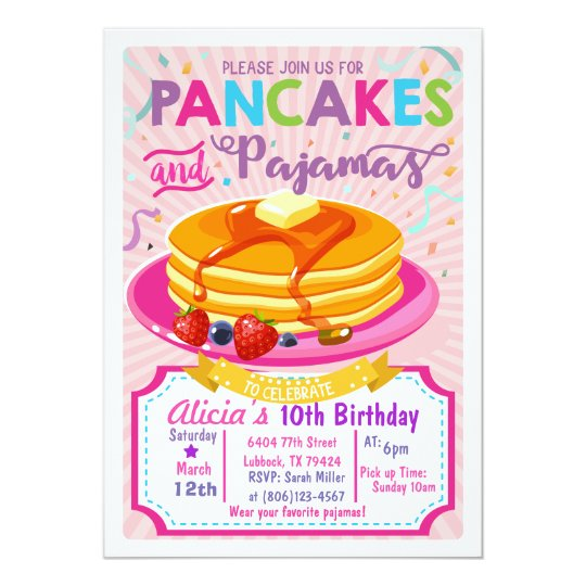 Pancakes Pyjamas Birthday invite Girl party