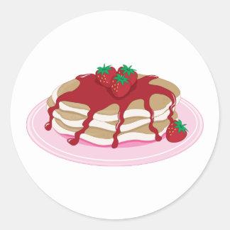 Pancakes Strawberry Round Sticker